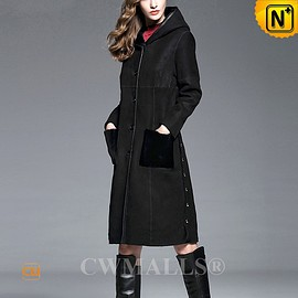 CWMALLS - CWMALLS® Reversible Shearling Coat with Hood CW652136