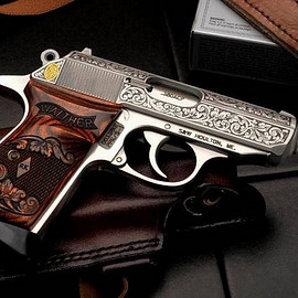P38 Baby Mob Guns - Satin White with Custom Wartime Grips
