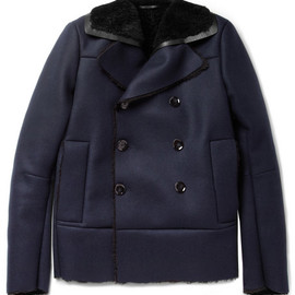 VALENTINO - Shearling-Lined Wool and Cashmere-Blend Peacoat