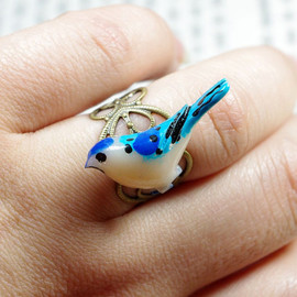 caishenbeads - Blue Resin Bird adjustable ring