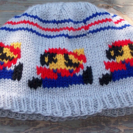 Super Mario Inspired Mario Hat Blue Red Gray Beanie Men Women Hand Knit Hat Gift Wrapped