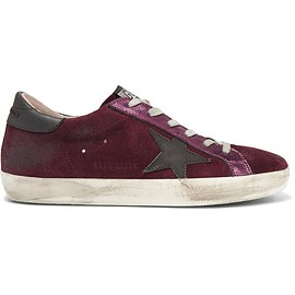 Golden Goose Deluxe Brand - Super Star distressed metallic leather-paneled suede sneakers