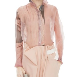 ACNE - Patti Print Organza Pink Dress Nude