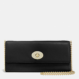 COACH - Slim Envelope Wallet With Pave Turnlock in Leather