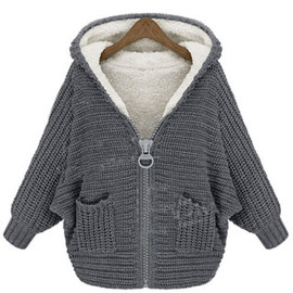 coat - Image of [grzxy6600439]European Style Warm Faux Shearing Lining Knit Warm Coat