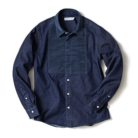 HEAD PORTER PLUS - VELOUR SHIRT NAVY