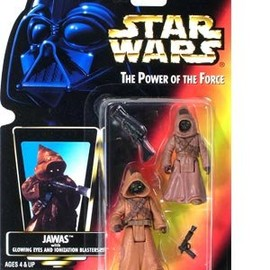 kenner - STAR WARS Power of the Force Jawas Red Card Action Figures with Glowing Eyes and Blaster Pistol