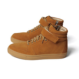SOPHNET. - VELCRO STRAP HIGH-TOP ZIP UP LEATHER SNEAKER