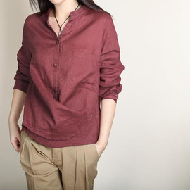 Shirt - spring shirt/ Multiple Wear method Linen shirt/ linen pleated shirt