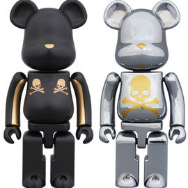MEDICOM TOY - BE@RBRICK 超合金 mastermind JAPAN 2pack GOLD STRIPE & CHROME SILVER