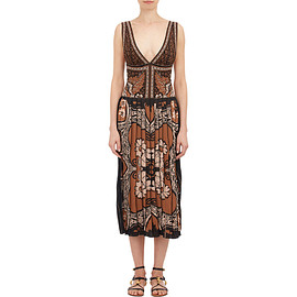 VALENTINO - SS2015 Foulard-Pattern Intarsia-Knit V-neck Dress