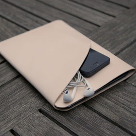 grams28 - iPad Mini Handmade natural Leather Case iPad Mini sleeve with Pocket iPad Mini wallet  (italian leather)
