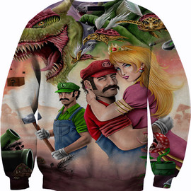 Mario and Luigi brothers sweater crew neck sweatshirt