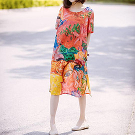 Loose large size printing long dress Leisure shirt dress white single breasted Open gown