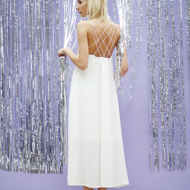 THE WHITEPEPPER - Cross Back Spaghetti Midi Dress Ivory