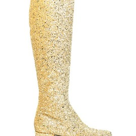 SAINT LAURENT - FW2014 40MM BABIES GLITTERED LEATHER BOOTS