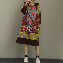 Hooded dress - reddish brown Cotton Oversize Loose Long Hooded dress casual dress