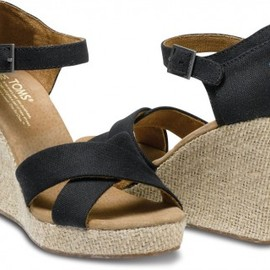 TOMS - Black Canvas Women's Strappy Wedges