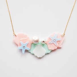 a cloudy dream - SEASIDE NECKLACE BUNCH MINT/PEACH