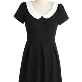 Record Time Dress - Black, Solid, Peter Pan Collar, Casual, Vintage Inspired, A-line, Short Sleeves, Fall, Short, Exposed zipper, White, 60s, Mod
