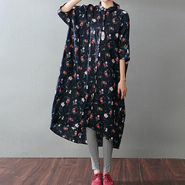 long gown - Leisure single breasted cotton and linen asymmetrical dress long shirt long gown In white/ dark blue