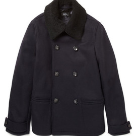 A.P.C. - Peacoat With Shearling Collar