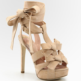 Christian Dior - Ingenue Suede Bow T-Strap Sandals - Flesh
