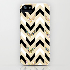 Society6 - Black, White & Gold Glitter Herringbone Chevron on Nude Cream iPhone & iPod Case