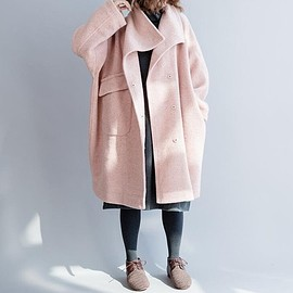 Winter wool overcoat - Winter wool overcoat, Loose Fitting wool overcoat, Stand collar wool long coat