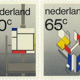 Designed by Wim Crouwel. - Postage stamps from the Netherlands, De Stijl 1983.