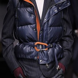 LOUIS VUITTON - 2013-2014 Fall-Winter Men  Runway Leather Puff Navy Vest