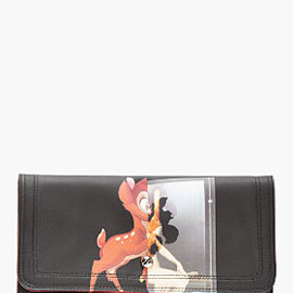 GIVENCHY - BLACK LEATHER BABY DEER PRINT CLUTCH