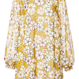 GIAMBA - Pre-Fall 2015 Floral Silk Georgette Dress With Smocked Shoulders