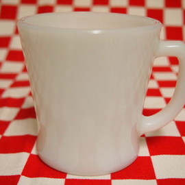 Fire King - White  D-Handle Mug