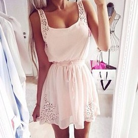 Fashion Gathered Waist Sleeveless Dress