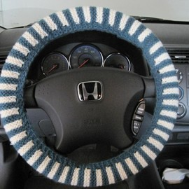Luulla - Knit Steering Wheel Cover, Wheel Cozy - teal heather/natural (SWC1)