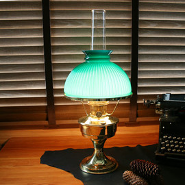 Aladdin Montle Works - Green Shade Oil Lamp