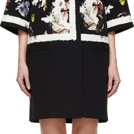 Erdem - Black Fassett Wallpaper Oversize Jaidee Coat