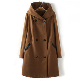 Splicing Knitted Sleeves Double Breast Hooded Collar Coat Overcoat