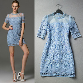 Embellished Embroidery Short Sleeve See Through Mini Dress