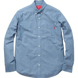 Supreme - Striped Selvedge Chambray Shirt - Light Blue Stripe