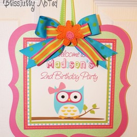 "Luulla - Girly Owl 10"" Birthday Door Sign"