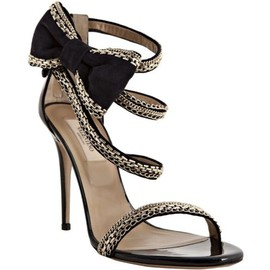 VALENTINO - Navy chain link trimmed suede bow detail sandals