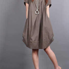 dress - cotton pleated loose dress shirt In brown