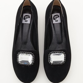 SLY - 【SLY】SHOWY JEWEL FLAT SHOES:カラーBLK