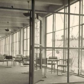 Gispen - Departure Hall of the Holland-America Shipping Line with Gispen Furniture and Lamps (approx 1930). Photograph: BroekBakema Collection