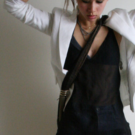 Blazer, H&M. Shorts, necklaces, and bag, vintage. Tank, Express. Heels, Jeffrey Campbell.