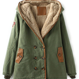 ROMWE - Double-breasted Panel Faux Leather Hooded Army-green Coat