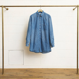 UNUSED - Denim Long Shirt -Bleach Wash