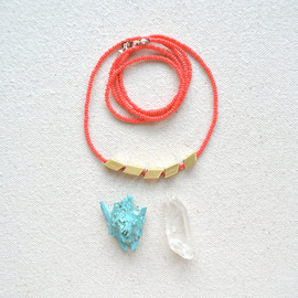 iswasandwillbe - The Helsinki Series in Coral- Modern Geometric Necklace or Bracelet